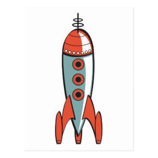 retro space rocket postcard