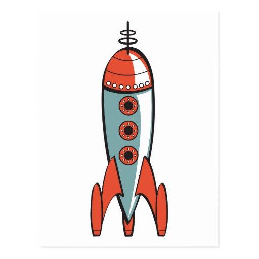 retro space rocket post card