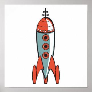 retro space rocket poster