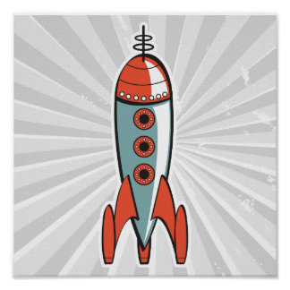 retro space rocket poster