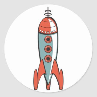retro space rocket round sticker