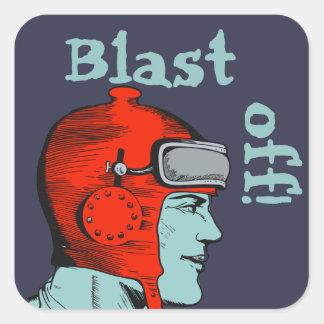 Retro Spaceman Red Helmet Square Sticker
