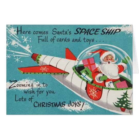 Retro Spaceship Santa Christmas Card