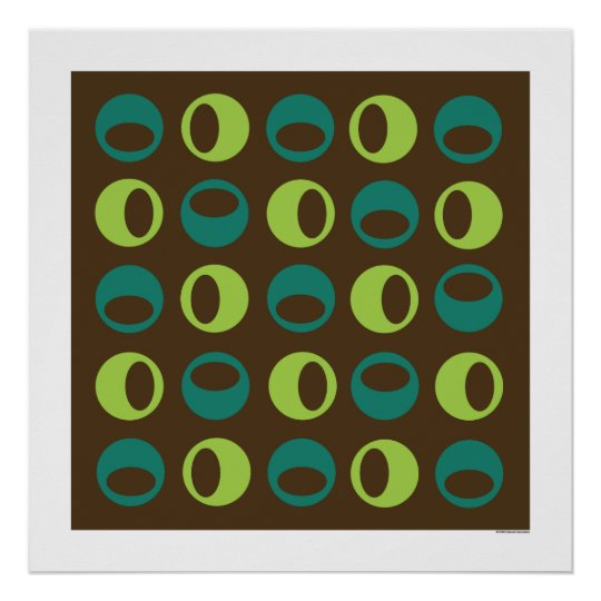 Retro Spheres on Brown Square poster
