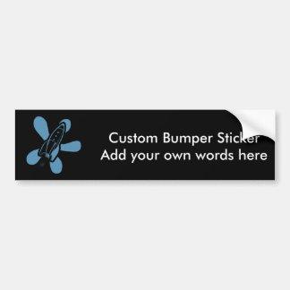 Retro Splat Rocket Black Blue Bumper Sticker