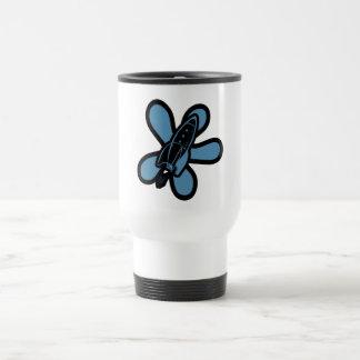 Retro Splat Rocket Black Blue Coffee Mugs