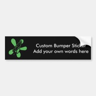 Retro Splat Rocket Black Green Bumper Sticker