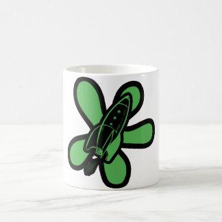 Retro Splat Rocket Black Green Mugs