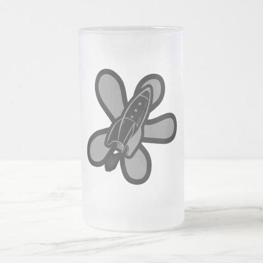 Retro Splat Rocket Black Grey Coffee Mug