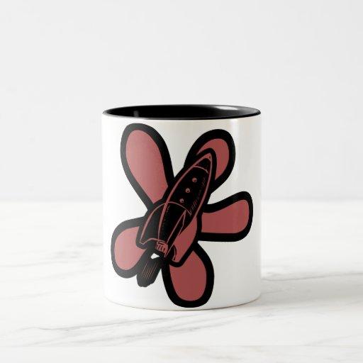 Retro Splat Rocket Black Red Coffee Mug