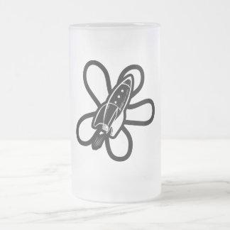Retro Splat Rocket Black & White 16 Oz Frosted Glass Beer Mug