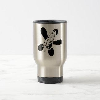 Retro Splat Rocket White & Black Coffee Mug