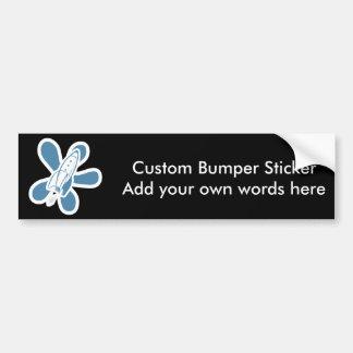 Retro Splat Rocket White Blue Bumper Sticker