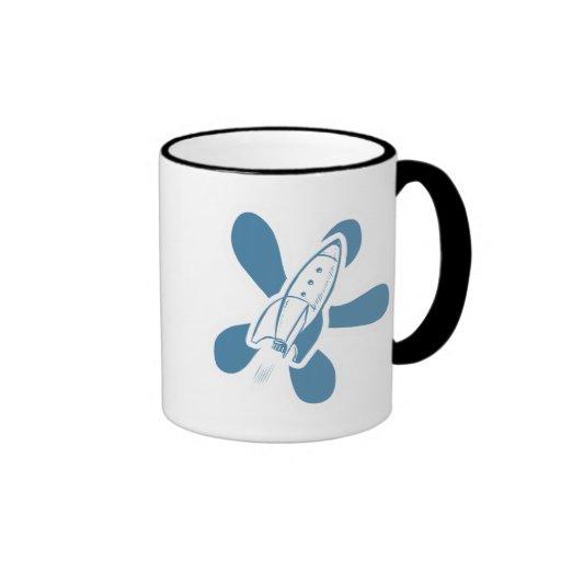 Retro Splat Rocket White Blue Coffee Mugs