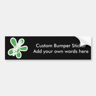 Retro Splat Rocket White Green Bumper Sticker