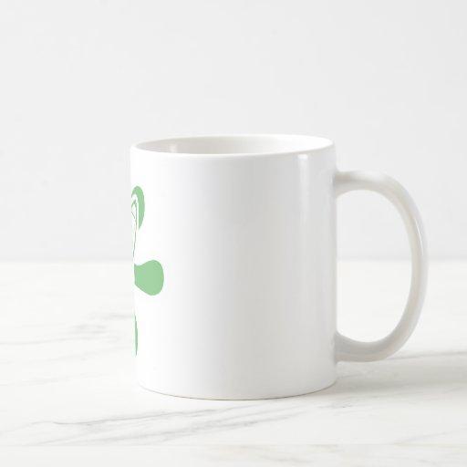 Retro Splat Rocket White Green Coffee Mugs