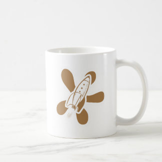 Retro Splat Rocket White Orange Mug