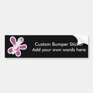 Retro Splat Rocket White Pink Bumper Sticker