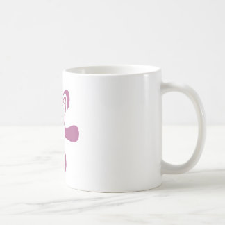 Retro Splat Rocket White Pink Coffee Mugs