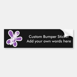 Retro Splat Rocket White Purple Car Bumper Sticker