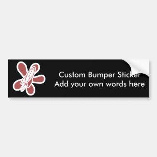 Retro Splat Rocket White Red Bumper Sticker