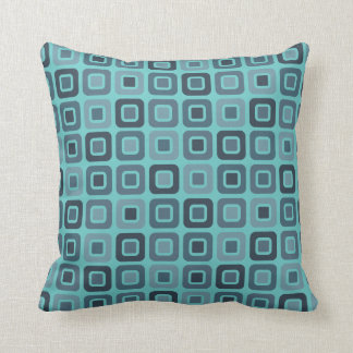 Retro Squares -Aqua Blue- Cushion