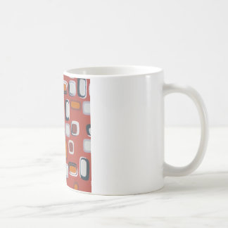 retro squares basic white mug
