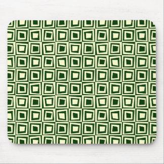 Retro Squares - Cream on Dark Green Mouse Pad