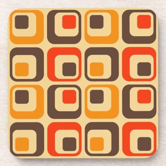 Retro Squares Pattern - Red, Brown & Orange
