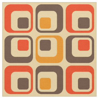 Retro Squares Pattern - Red, Brown & Orange Fabric