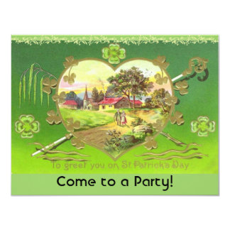 Retro St. Patrick's Day Party Invitations! 11 Cm X 14 Cm Invitation Card