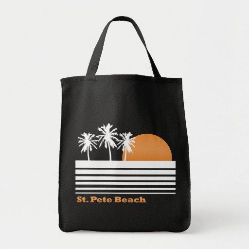 Retro St Pete Beach Canvas Bag (Dark)