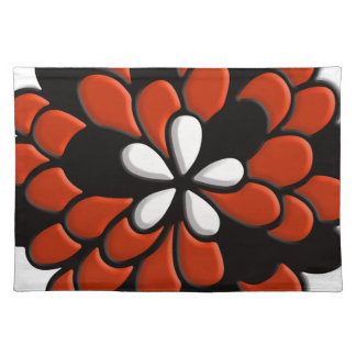 Retro Stained Glass Orange Flower Placemats