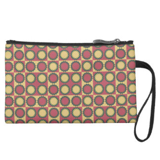 Retro star flowers amaranth red, yellow amber wristlet