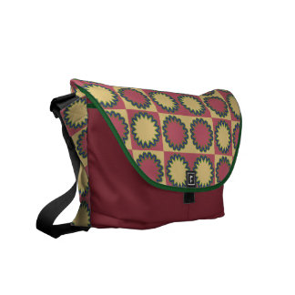 Retro star flowers amaranth red, yellow amber commuter bag