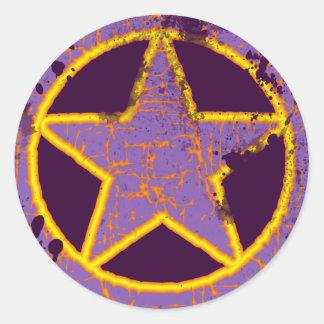 RETRO STAR ROUND STICKER