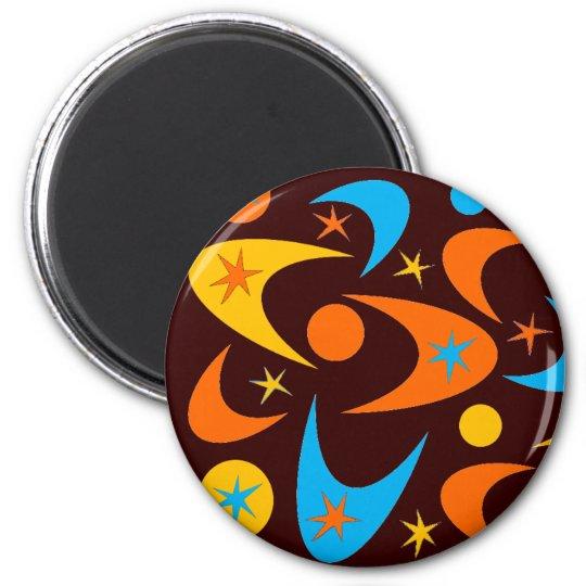 Retro Starburst & Boomerang 6 Cm Round Magnet