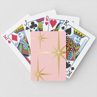 Retro Starburst Pink Playing Cards