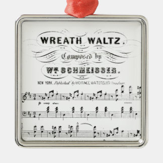 Retro staves of sheet music notes (vintage waltz) Silver-Colored square decoration