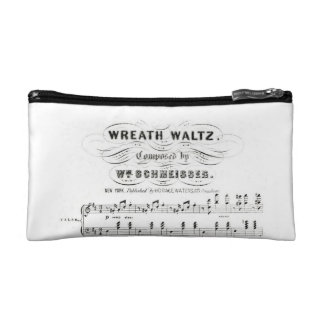 Retro staves of sheet music notes (vintage waltz) makeup bag