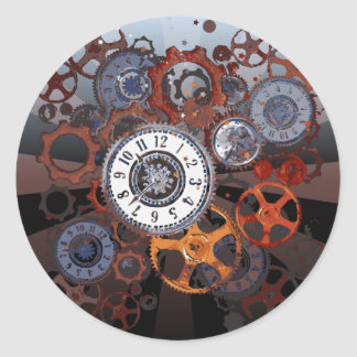 Retro steampunk watch parts, gears and cogs print classic round sticker