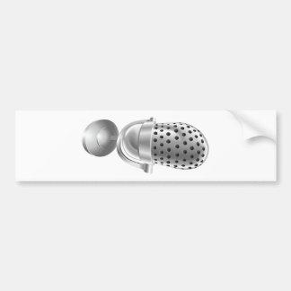 Retro steel radio microphone mic bumper stickers