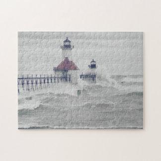 Retro Stormy Lake Michigan Lighthouse Photo Puzzle
