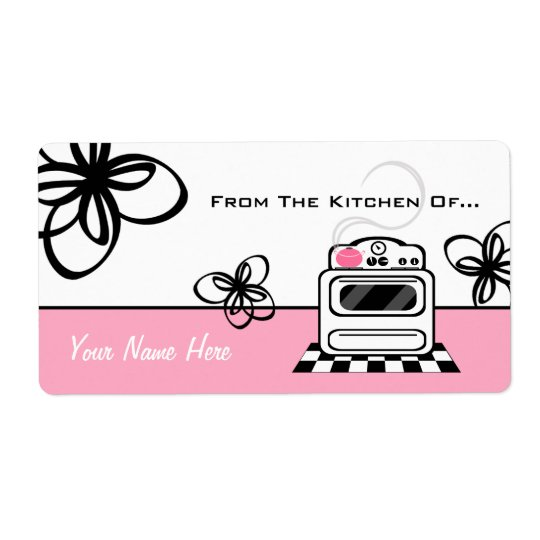 Retro Stove Pink Kitchen From The Kitchen Of... Shipping Label