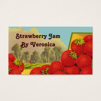 Retro Strawberry Art Recipe Tag Template Business