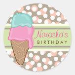 Retro Strawberry Mint Ice Cream Birthday Party Round Sticker