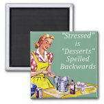 "Retro ""Stressed is Desserts spelled backwards"" Mag Square Magnet"