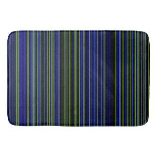 Retro stripe lime green blue bathmat