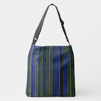 Retro stripe lime green blue shoulder bag