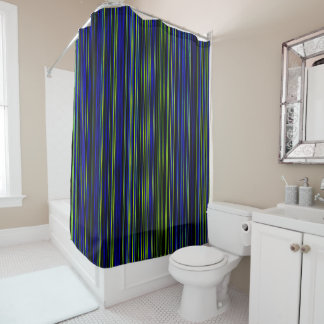 Retro stripe lime green blue Shower curtain